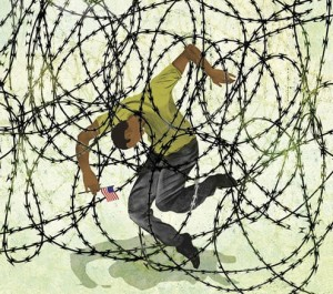 """Illustration by Brian Stauffer used in a report by The Houston Press, """"Immigration Backlog Bounces Thousands of Cases to Late 2019,"""" 2/10/16"""